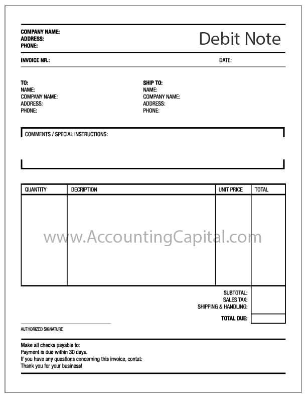 Template For Debit Note. U003e  Debit Note Sample