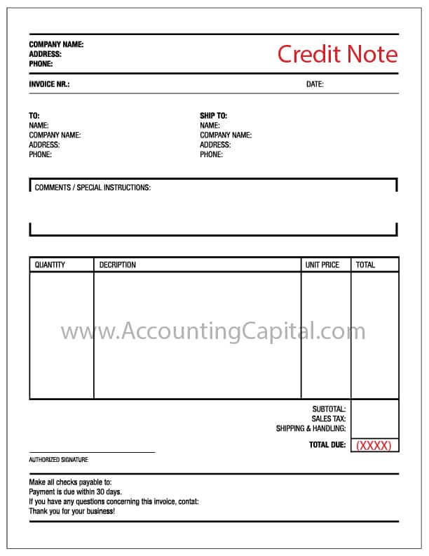 Template for Credit Note