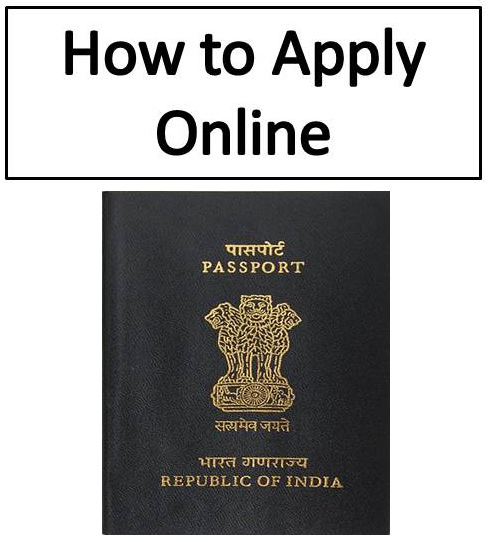 Image with Indian passport and text apply online