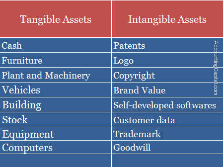 Example of Tangible and Intangible assets