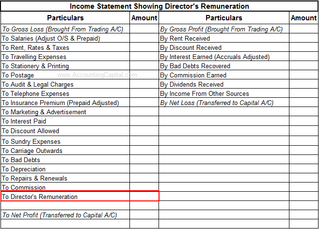 Income statement showing director's remuneration
