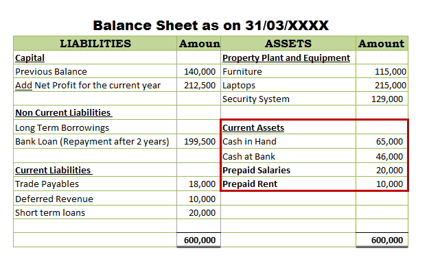 Prepaid expenses in Balance Sheet