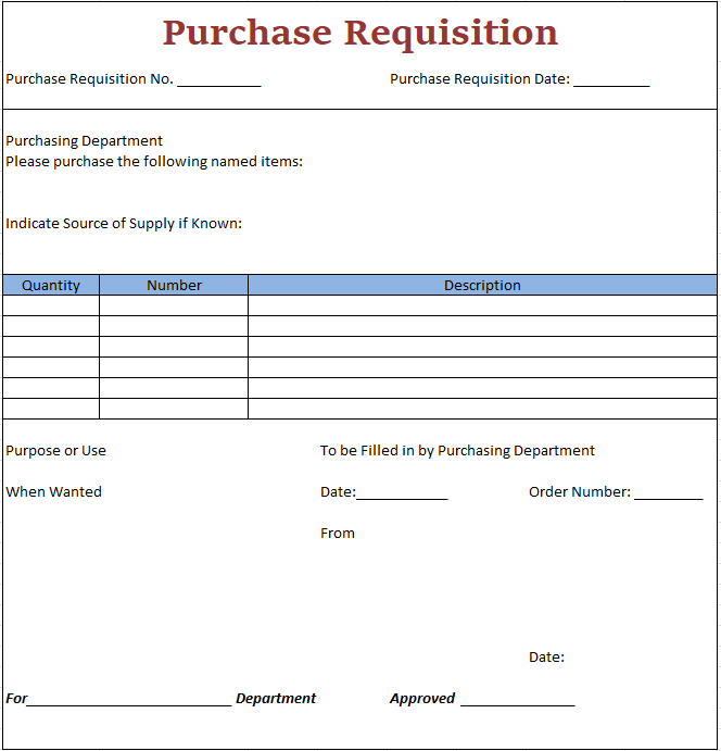 Specimen of purchase requisition