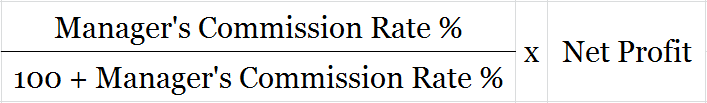 Formula to calculate Manager's Commission after charging the commission